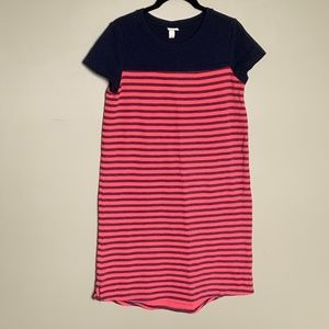 Merona coral and navy striped sweater dress small